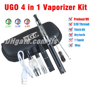 UGO 4 in 1 Variable Voltage Vaporizador Pen Starter Kits for Dry Herb Wax Dab Thick Oil EGO EVOD 4in1 Preheat VV Vaper