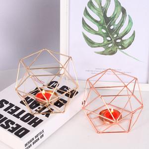 Geometrik Mum Nordic Stil Ferforje mum sahipleri Ev Dekorasyon Metal Mum Fener El Sanatları Küçük Tealight Ev Süsler
