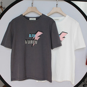 100% de manga corta camiseta de algodón tapas de las mujeres de impresión de letras O-Cuello Negro camisetas blancas femeninas 2020 Señora verano camiseta en STOCK T200403