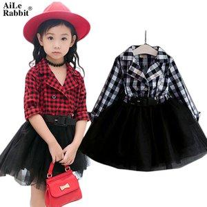 Aile Rabbit Girls Туту платья весна осень полный рукав Детская одежда плед Кружевные платья Нижнее Детская одежда k1