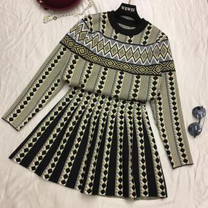 Amolapha Women Donne vintage maglia maglione gonne set geometrica stampata stampata donna a maglia abbigliamento abiti