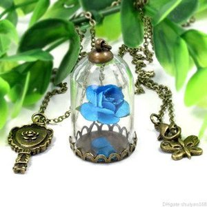 Rose Flower Pendant Necklaces Butterfly Charm Long Chain Sweater Necklace Rose In Terrarium Pendant Valentines Day Statement Jewelry Gifts