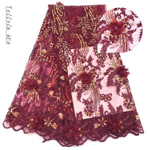 Hot Sale French Lace Fabric With Beads Sequisn African 3d Flower Lace Fabric High Quality 2019 Net Lace Nigerian Material Dress
