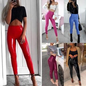 Kadınlar Seksi PU Deri Yoga Pantolon Paket Kalça Push Up Egzersiz Stretch Tozluklar Pantolon Lady Sahte Deri Sıska Kalem Pantolon