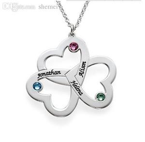 Triple corazones del amor mayor pendiente-Nombre de encargo piedra natal, joyería estampado a mano joyería de los pares regalo collar mamá