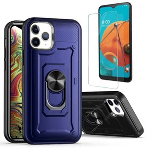 For Samsung Note 10 S10 Lite Suction Ring Holder Phone Case Shockprooof 2 in 1 Protective Armor Combo Case+ Clear Tempered Glass