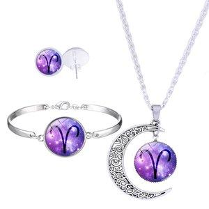 الأزياء 12 زودياك تسجيل قلادة القمر قلادة أقراط أساور مجموعة للنساء الزجاج كبوشن برجك كوكبة المجوهرات هدية