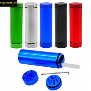Eyección automática Dugout Con La Amoladora titular caso de cigarrillos del bolsillo de aluminio del metal Cigarrillo caso compuesto caja de la caja y