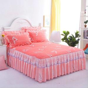 Nordic romántica patrón de flores rizadas de poliéster Colchas cama falda de cama de matrimonio cubre conjunto del algodón del lecho Hoja de decoración del hogar