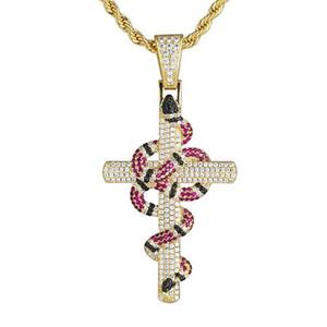 Ciondolo placcato oro 18K ritorto Coral Snake Croce in oro bianco ghiacciato fuori zircone Bling Hip Hop gioielli regalo