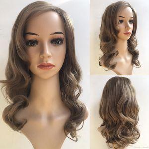 Mode Brown Perm Perücke African American Haar Günstige Perücken Online Kanekalon Perücke lange Gerade Synthetic für schwarze Frauen