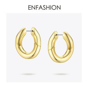 ENFASHION Punk-Verbindungs-Ketten-Band-Ohrringe für Frauen Goldfarben Kleine Kreis-Band-Ohrringe Fashion Jewelry Aros De Moda 2019 EC1044 CJ191216