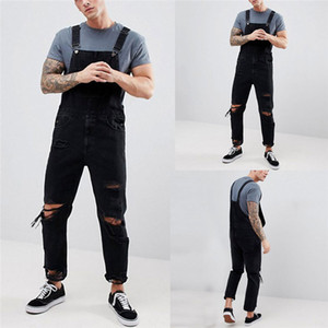 Buracos New Mens Verão Denim Jeans Moda Men Botão Jeans Fly com bolsos Mens Macacões Designer