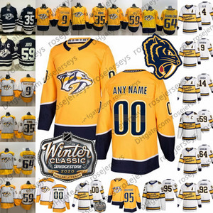 Nashville Predators aposentado Retro Jersey # 6 Shea Weber 12 Mike Fisher 23 Rocco Grimaldi 52 Matt Irwin 57 Dante Fabbro 2020 Branco Amarelo