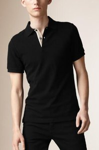 England Style Men Classic T-Shirts Solid Color Lapel Short Sleeve England Designer London Brit Polos Tees Clothes Polo Tshirt Black White