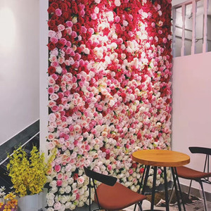 Decorative Flowers Wall 40x60cm Beautiful Silk Rose Artificial Festive Party Supplies Wedding Romantic Background Decoration High Quality