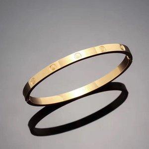 Acier inoxydable Argent gros-bracelet d'amour de 5 mm titane clou Bracelet plaqué or 18 carats Bracelets Bracelets pour femmes