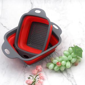 Çok fonksiyonlu Silikon Katlanabilir Drenaj Sepet Mutfak Katlanabilir Portatif Asma Drenaj Drenaj Raf Basket Depolama Aracı Lavabo Tutucu BH1913 CY