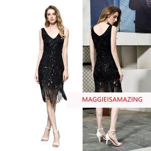 Formal prom dress for women,1920s v neck midi Applique Sequins sheath black party dresses MAGGIEISAMAZING 15390