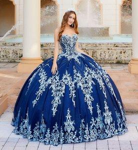 2020 Lacivert Balo Quinceanera Modelleri Köpüklü Sweetheart Aplike Boncuk Kat Uzunluk Hüsniye Moda Vestido De Festa Sweet 16 Giydirme