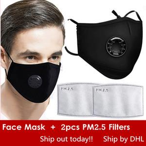 Masques gratuit DHL Réutilisés Visage Anti-poussière, fumée, gaz et allergies Protection réutilisable réglable avec 2 PM2.5 Filtres pour les femmes Man