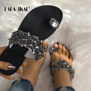 Lala IKAI Strass Mulheres Chinelos de Verão Ao Ar Livre de Cristal Bling Praia Senhoras Slides Moda Sapatos Baixos 014A3725-4
