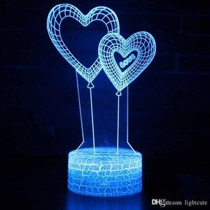 Fern 16 Farben Doppelherzballon Thema 3D-Lampen-LED-Nachtlicht 7 Farbwechsel-Noten-Stimmungs-Lampen-Weihnachtsgeschenk Dropshippping