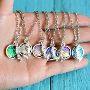 Moda sereia colares pendente com prata Chain Link para a resina da escala de peixes Mulheres Senhora do vintage das meninas presentes jóia com Retail Bag baratos
