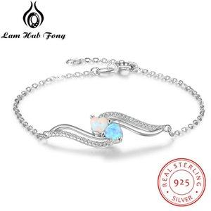 Genuíno 925 prata esterlina Mulheres Pulseiras Azul Branco Opal Pulseira Cubic Cadeia Zirconia Pulseira Fine Jewelry (Lam Fong Hub)