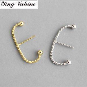 """ying Vahine 100% 925 Sterling Silver """"C"""" em forma de trançado Lines brincos para mulheres"""