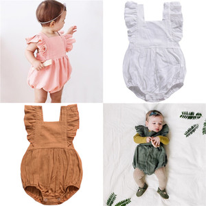 Baby Romper INS 2019 Summer Girls Clothes Solid Color Fly Sleeve Jumpsuit One-pieces Bodysuit Infant Newborn Kids Clothing 4 Color Q4