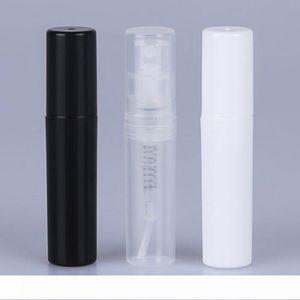 2ml Mini örnek Taşınabilir Plastik Parfüm Şişesi Şeffaf Siyah Beyaz Renk Sprey Doldurulabilir Şişe Temizle boşaltın Küçük şişeler LX3961