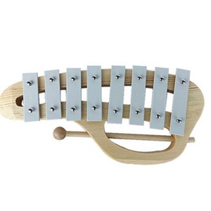 Hand Knock Xylophone Glockenspiel with Mallets 8 Tones Aluminum Sheet Wooden Musical Instrument Preschool Educational Toy for Ki