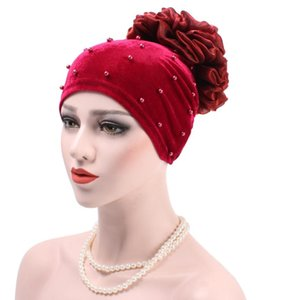 Female classic conservative flowers diamond Muslim solid color scarf flower scarf lady flower diamond hooded headdress