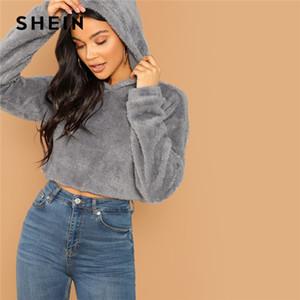 Shein Gri Minimalist Katı Damla Omuz Mahsul Teddy Hoodie Kazak Sonbahar Rahat Moda Kadın Kazaklar Tişörtü