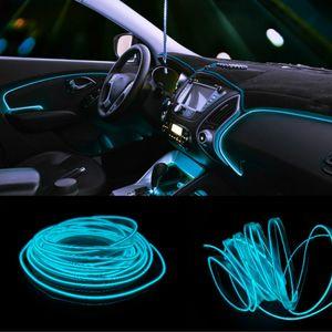 JURUS 2 개 1 / 2 / 3Meter 주도 실내 램프 자동차 조명 엘 와이어 12V 인버터 유연한 네온 콜드 라이트 라인 스트립 자동차 액세서리 램프
