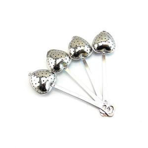Tè verde infusore filtro cucchiaio in metallo borsa fiore colino in acciaio inox sciolto scalpore con il foglio a forma di cuore a catena