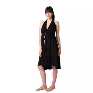 디자이너 활 출산 드레스 섹시한 등이없는 V 넥 드레스 캐주얼 솔리드 컬러 홀터넥 민소매 드레스 여성 의류 여자