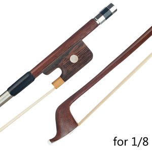 Double Bass Bow 1 8 French Style Brazilwood Parisian Eyes Round Stick High Quality White Horsetail Bass Violin Use
