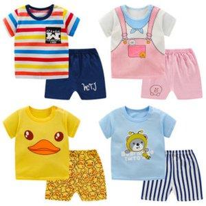 Enfants Summer Vêtements Ensembles Enfants Tops colorés + Shorts Boys Gilrs Unisexe Casual Ensembles Child Mode T-shirts + Shorts Deux ensembles de pièces