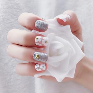 24 шт. Элегантный Белый Кружева Ложные Короткие Ногтей Советы Розовый Овальный Длинная Невеста Поддельные Ногти Для Свадебных Подарков Каникулы #