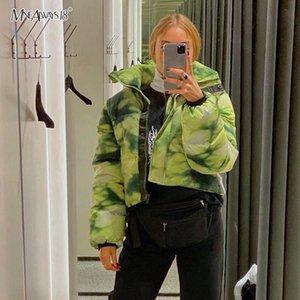 Escudo Mnealways18 teñido anudado de la mujer caliente del invierno recortada del collar del soporte de la cremallera de la chaqueta verde abrigos Mujeres 2019 Moda de Calle bodycon