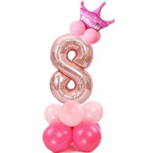32 pollici Numero Foil Palloncini aria Digit Ballon Bambini festa di compleanno Festival Anniversary Party Supplies Corona Decor