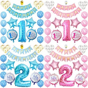DHL shipping Baby Girl Birthday Party Balloon Celebrate Supplies One and two years Old Children Happly Birthday Balloon Decorations L296FA