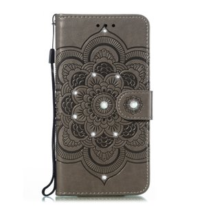 New Sun Mandala embossed point drill phone case TPU + PU anti-fall can support models for Huawei p20lite 2019 with credit card slot pocket