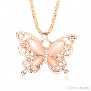 Altın Zincir Güzel kolye Moda Pembe Altın Kaplama Opal Kelebek kolye kolye Triko Zinciri Hediye Charm Kelebek Kolye