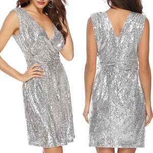 딥 브이 넥 실버 sequined 섹시한 드레스 오프 여성 어깨 미니 드레스 크리스마스 파티 클럽 스트랩 드레스 Vestidos SS5128