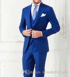 Yeni Klasik Erkek Lüks Suit Damat Yaz Slim Fit Balo Sağdıç Giyim İş Suit Pantolon Kraliyet Blue Man Düğün Suit