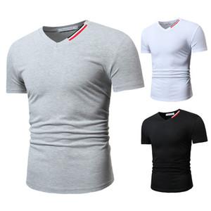 Solide Couleur de remise en forme talonnage T-shirt des hommes d'été Designer V Neck Solid Color Casual T-shirts Mode Homme Vêtements
