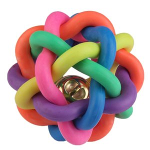 Colorful Ball Pet Dog Cat Toy Colorful Rubber Round Ball with Small Bell Toy Pet Dog Chewing Ball